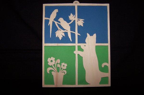Découpage sur bois - 210 (Cadre chat, Perroquets)