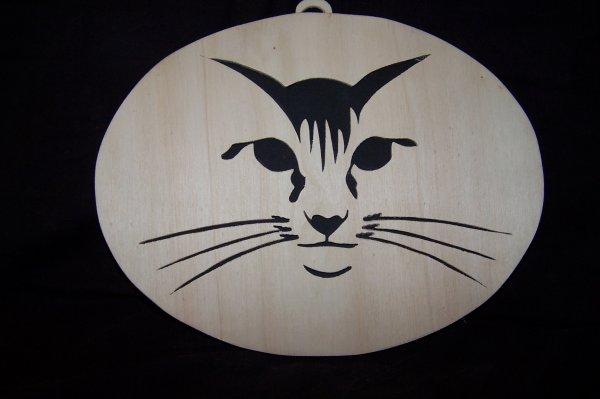 Découpage sur bois - 211 (Cadre Ovale Tête de chat)
