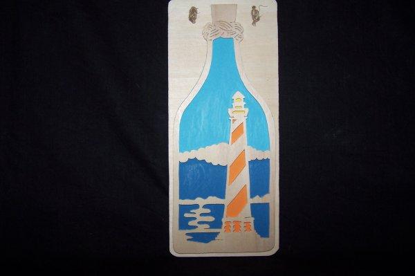 Découpage sur bois - 223 (Cadre - Lighthouse in a botle)