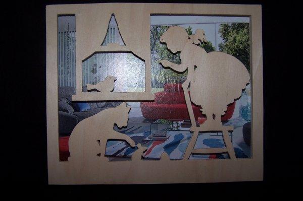 Découpage sur bois - 227 (Cadre Chat, fillette, souris)