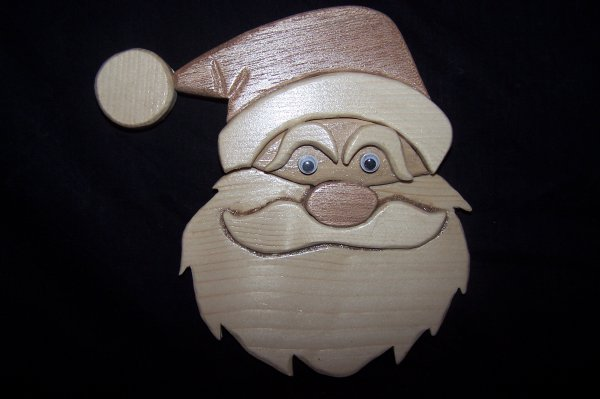 Découpage sur bois - 235 (Tête de Père Noël) - {Intarsia}