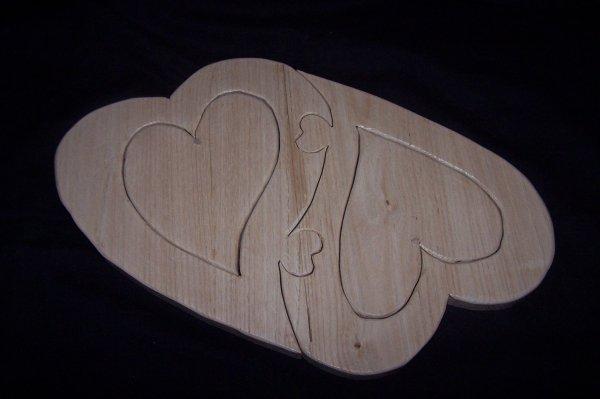 Découpage sur bois - 242 (Coeur Puzzle en Chataignier)