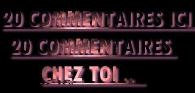 20 COMMENTAIRES ICI , 20 COMMENTAIRES CHEZ TOI ♥