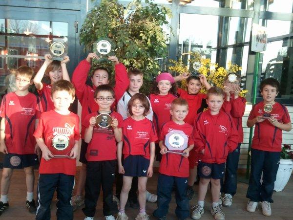 Championnat du Rhône pour les moins de 9 et moins de 11 encore de nombreux trophées!!!!