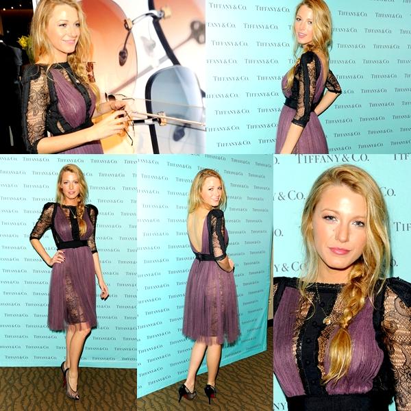 Blake vêtue d'une robe Elie Saab lors de la présentation de la collection  Eyewear Printemps 2011 de Tiffany & Co, le 30 septembre à New York