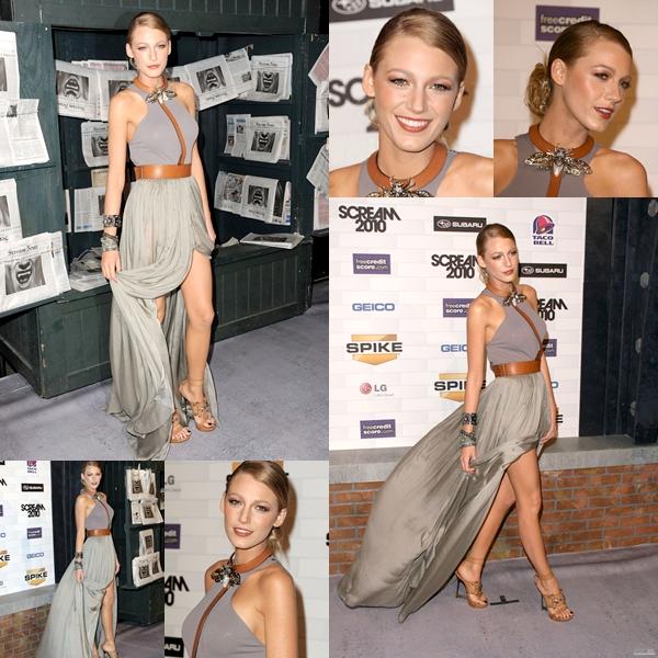 """Blake sur le tapis rouge des """"Spike TV's Scream 2010 Awards"""",  cérémonie qui récompensent les meilleurs films d'horreur et de science-fiction.   Blake portait une robe Lanvin de la collectoin printemps 2011.  Tout simplement superbe (l)"""