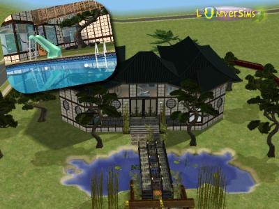 grande maison style japonais tout pour les sims. Black Bedroom Furniture Sets. Home Design Ideas