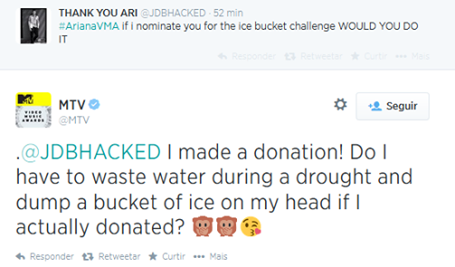✈ Ariana répondant à un fan concernant ses nominations aux Ice Bucket Challenge : J'ai fait une donation ! Est-ce que  je    dois gaspiller de l'eau durant la sécheresse et déposer un seau de glaçon sur ma tête si j'ai en réalité donnée ?