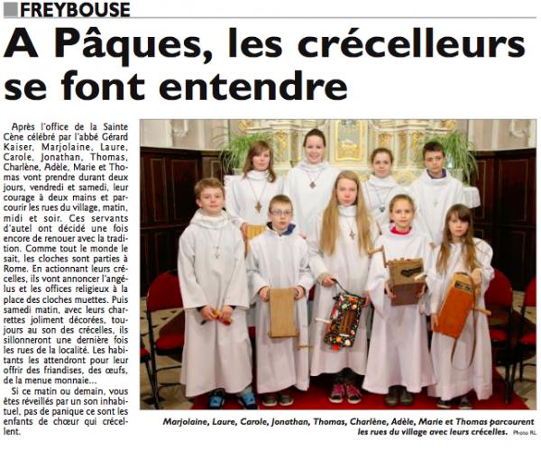La tradition des crécelles à Freybouse 28 mars 2013