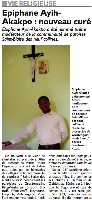 Portrait de notre nouveau prêtre (article RL du 9 octobre 2013)