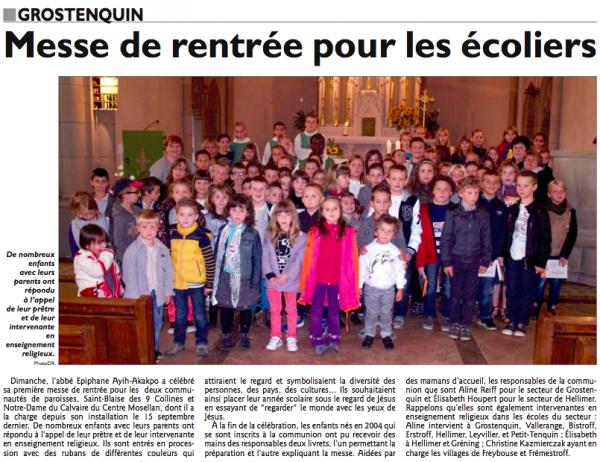 Messe de rentrée à Grostenquin le 29 septembre 2013