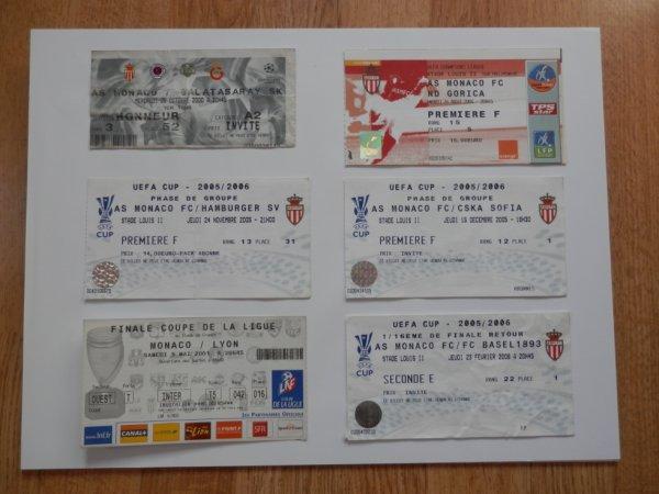 Tickets de match de coupe d'Europe et de la finale de la Coupe de la Ligue 2001