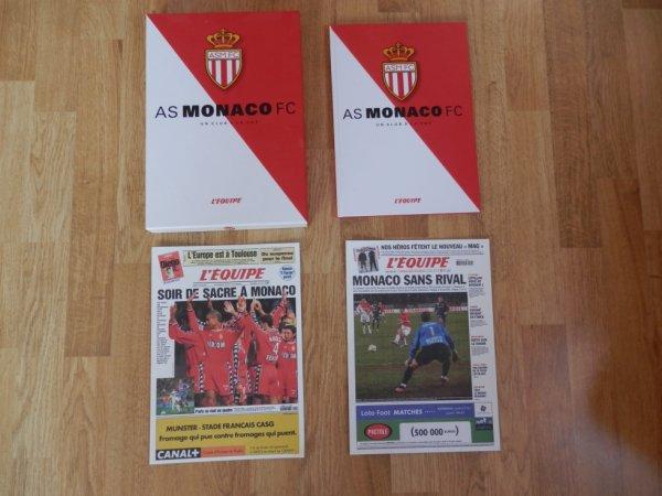 """Les 20 """"Unes"""" du journal L'Equipe consacrés à l'AS Monaco"""