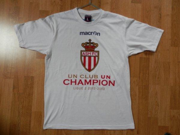 Maillot saison 2012-2013 Monaco Champion de Ligue 2 (de face)