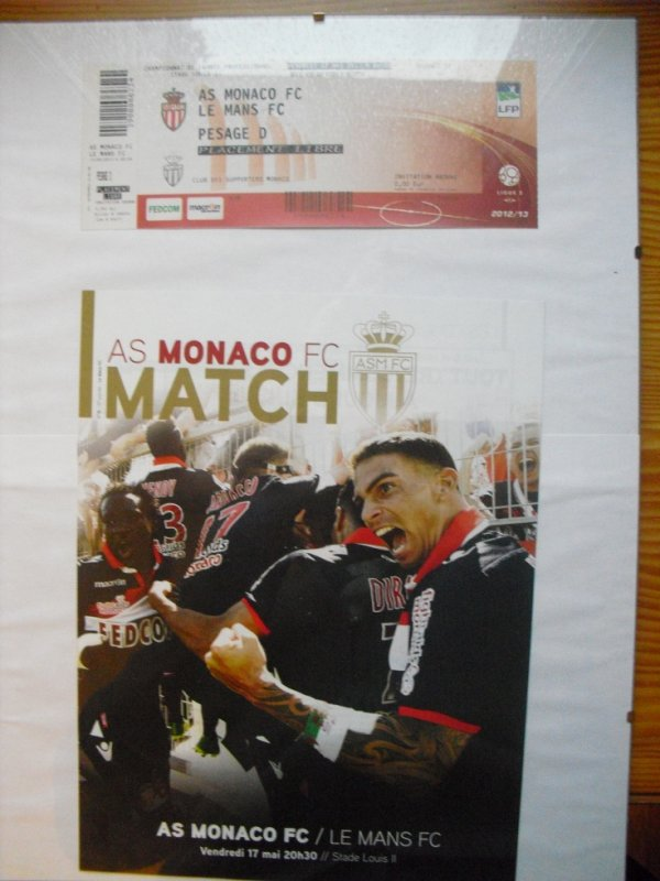 Programme du match et ticket AS Monaco/Le Mans, match consacrant l'ASM championne de France de Ligue 2
