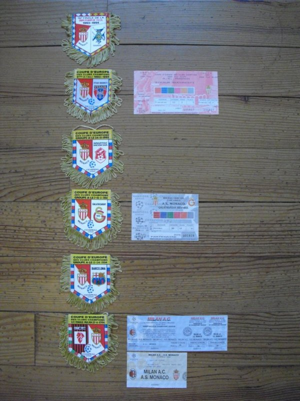 Fanions et tickets de match de Coupe d'Europe (C1) saison 1993/1994