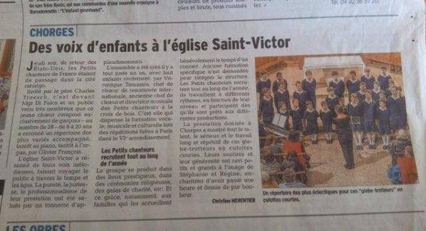 Revue de presse Des voix d'enfants à l'église Saint-Victor