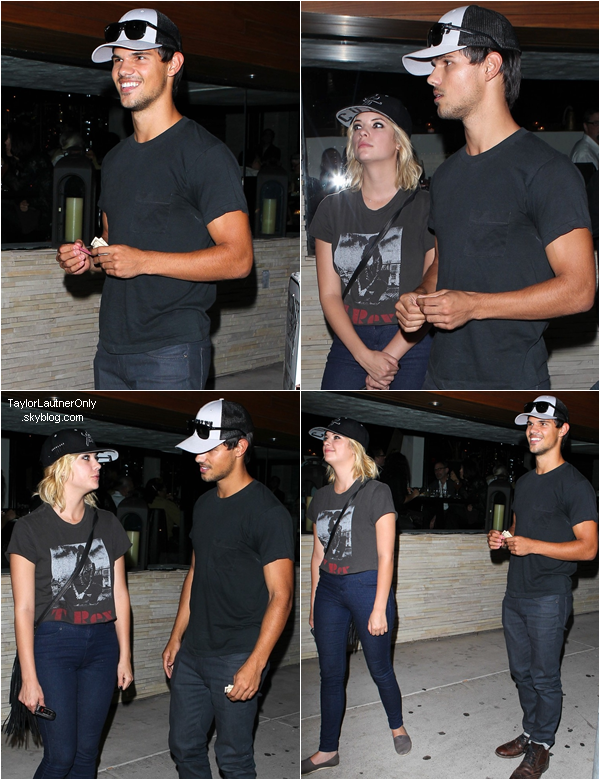 . Taylor a été vu avec Ashley Benson quittant le restaurant 'Red O Mexican' le 9 aout : .