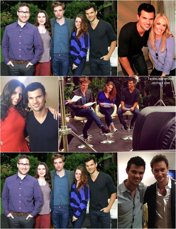 . Taylor poursuit la promo  de Twilight avec Kristen, Robert, Bill Condon, Stephenie Meyer... .