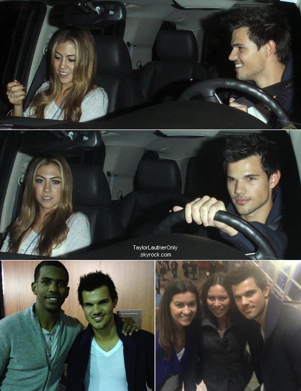 . Taylor était le 9 janvier avec Patrick Schwarzenegger et Sara Hicks au Staples Center de LA : .