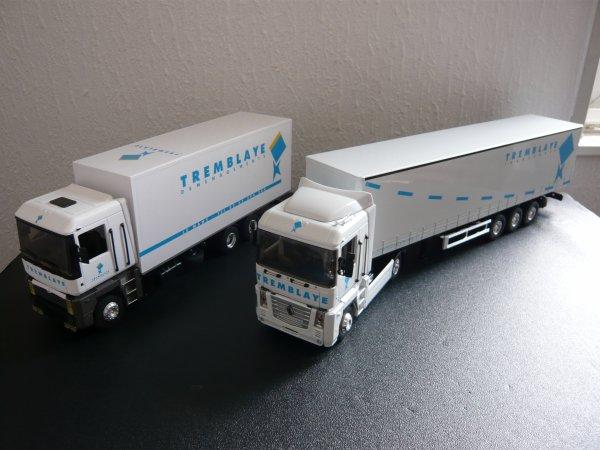 """Renault Magnum 4 480dXi et AE Porteur 6x4 Fourgon """" Transports Tremblaye Déménagements """" Eligor LBS Ref: 111946 et 113709"""
