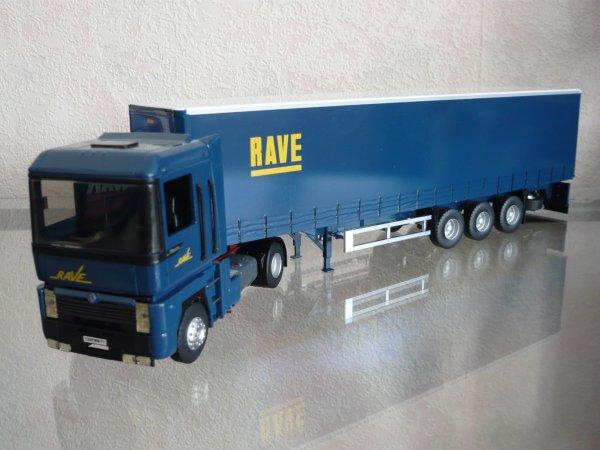 "Renault Magnum 430 Restyle tautliner Behm ""Transports RAVE"" Eligor LBS Ref:114464"
