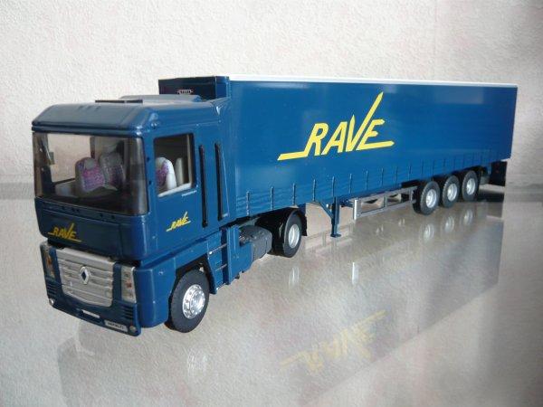 """Renault Magnum 3 480 tautliner Trailor """"Transports RAVE"""" Eligor LBS Ref:114465"""
