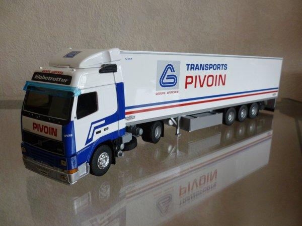"Volvo FH12 380 Globetrotter Remorque Frigo Chereau "" Transports Pivoin Gringore "" Eligor LBS 1/43 ème Ref: 114571 Ex N° 03/20"