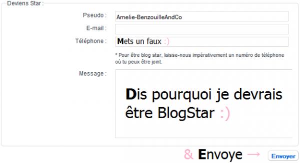 Moi devenir BlogStar ; mon rêve :P