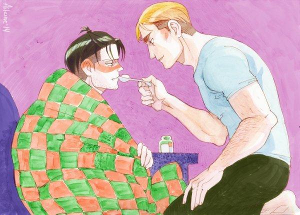 Levi malade version adulte...pour toi, Rin. XD Je pleins Levi. XD