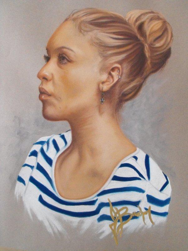 ÉLEVE DE L'ACADÉMIE DES BEAUX ARTS ( Portrait Pastel Sec ) 16X20
