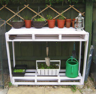 table en palettes pour jardiner