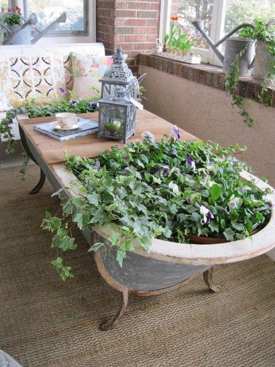 baignoire table fleurie