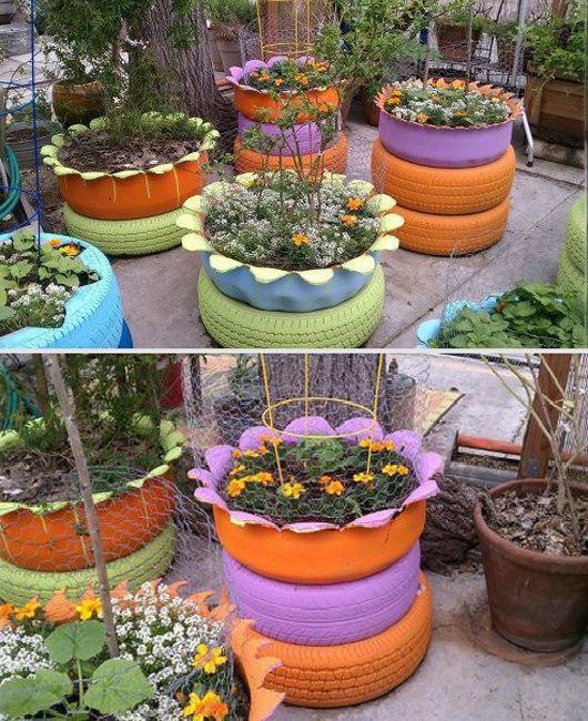 deco pneus pots de fleurs