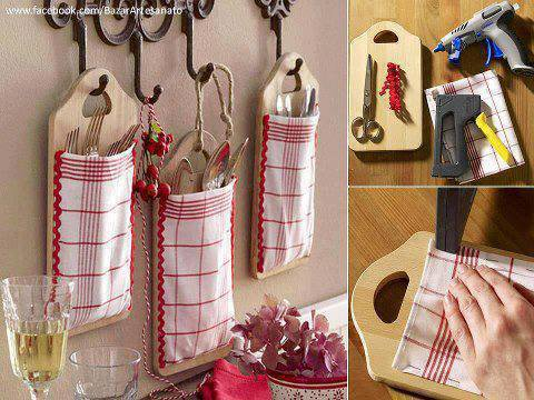 deco cuisine porte couvert avec planche à decouper et torchon