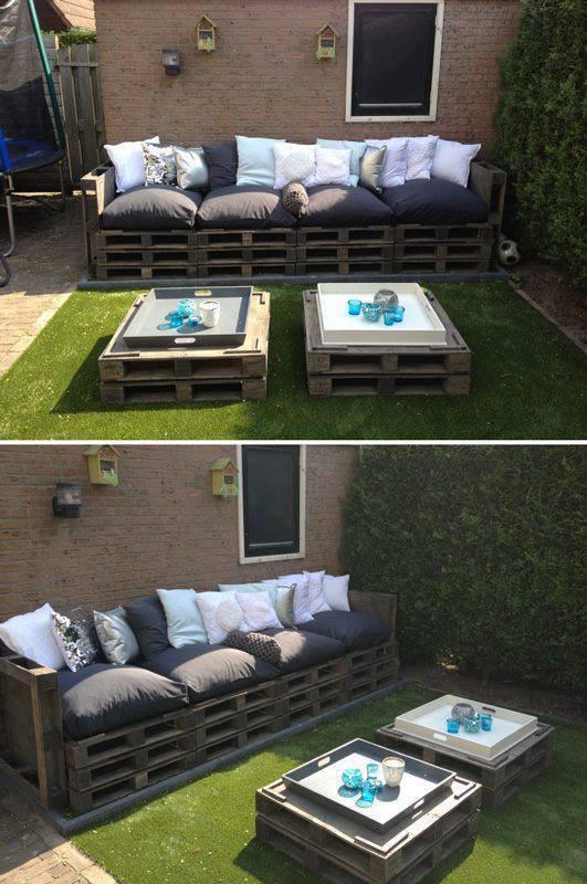canape et tables basses de jardin avec des palettes