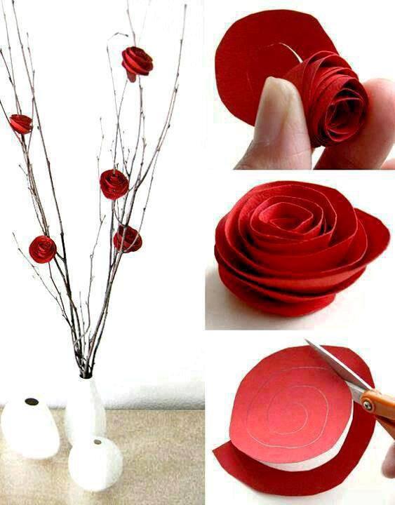 deco roses  en papier rouge