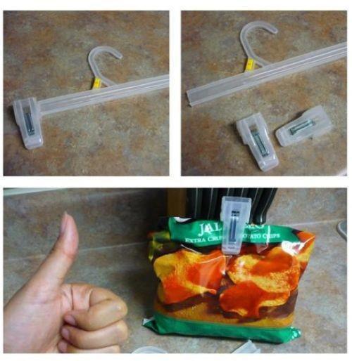 attache sac avec des pinces de cintre pour que les aliments reste frais