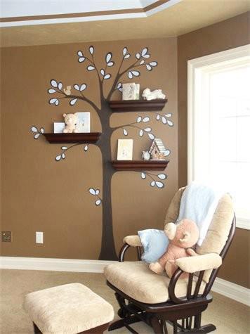 peinture arbre à etageres pour peluches et livres