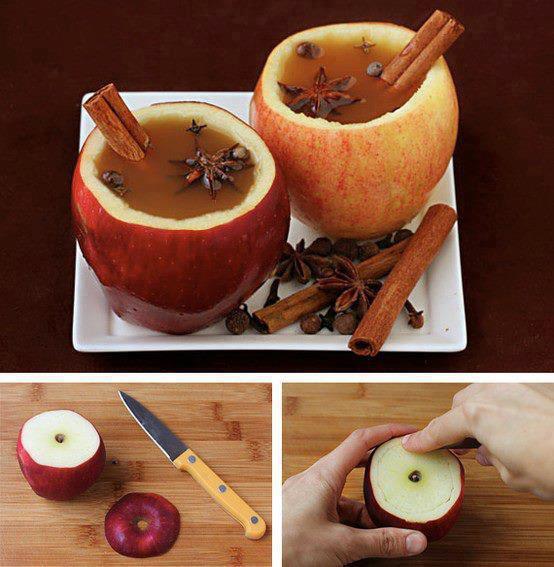 bols de pommes avec son vin chaud