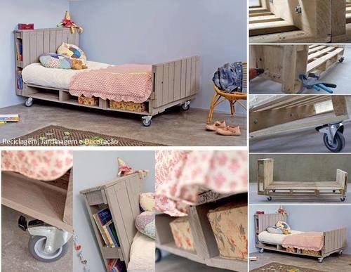 lit d'enfant sur roulette avec des palettes