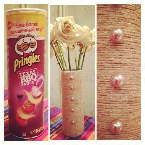 vase en boite de pringles corde et perles