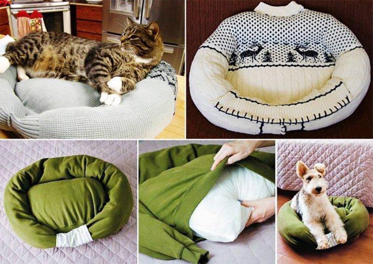 comment faire d'un vieux pull un lit bien douillet pour votre chat ou votre chien