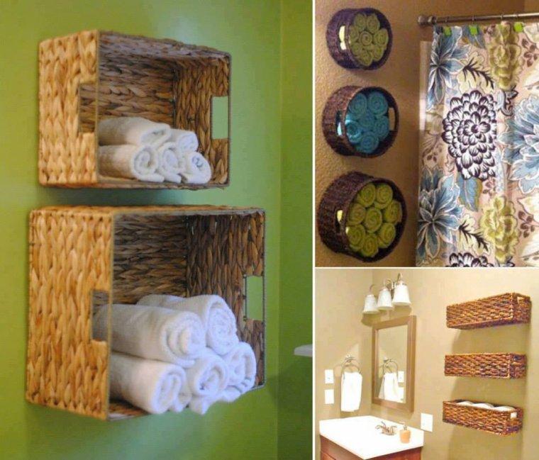 corbeilles en osier pour rangement de salle de bain
