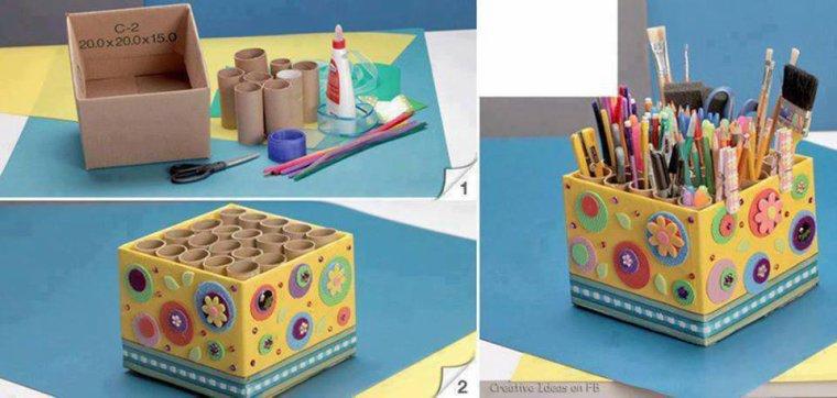 avec peu de chose faire une boite pour ranger tous les crayons de couleurs , pinceaux et feutres ...