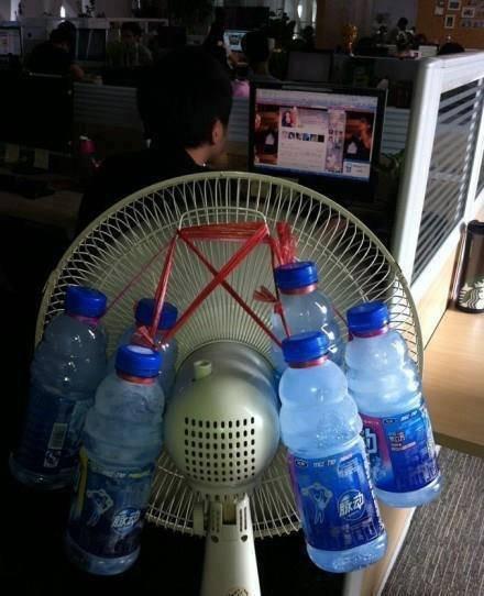 avec un peu d'idée et pour avoir moins chaud ventilateur bouteille gelée