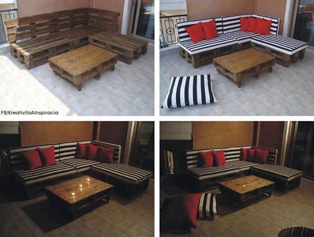 recyclage de palettes : canapé et table basse