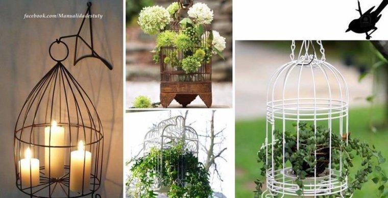 recyclage de cages pour plantes vertes et bougies