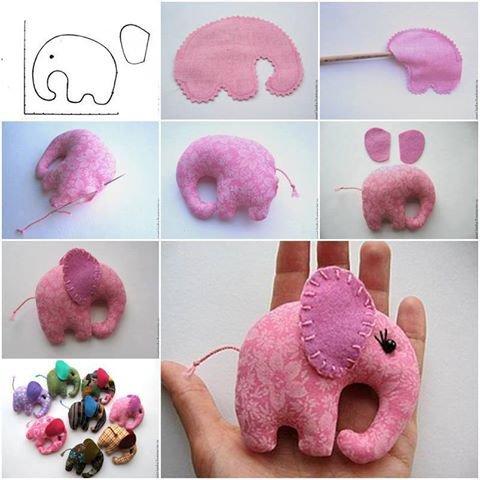 couture : éléphant en tissus ou en feutrine