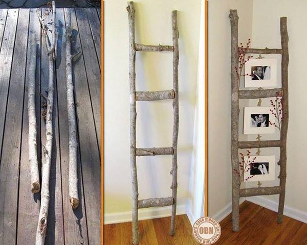 déco : avec des branches et des rondins voilà une échelle porte cadres ou photos
